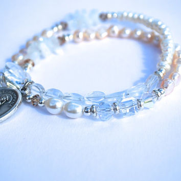 SAINT DYMPHNA freshwater pearl, moonstone + crystal double wrap healing bracelet // Dispels anxiety, soothes sadness, eases a troubled mind.