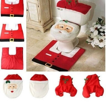 Merry christmas decoration santa claus ornaments ornament papai noel new year navidad baubles toilet lid mat supplies (Color: Red) = 1946636036