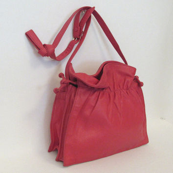 Vintage  leather Albi purse, bag in the softest of leather - Hot Pink!