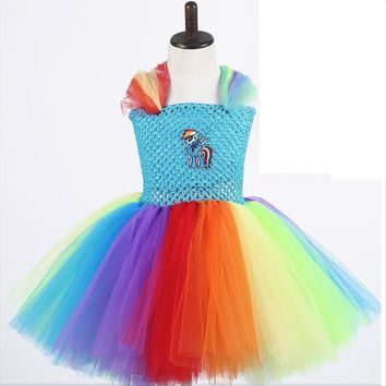 TPRPCO Girls Tutu Dress My Little Pony Cosplay Costtume Hand Crochet Dress for Child Stage Performance Costume Halloween N1301