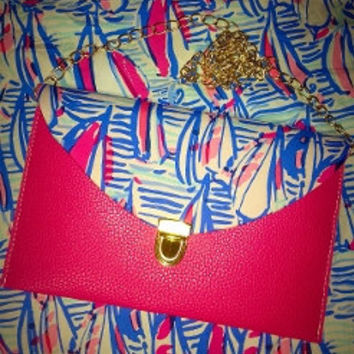 Custom Lilly Pulitzer Red Right Return Envelope Clutch