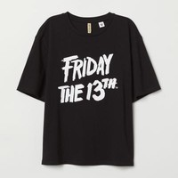 T-shirt with Printed Design - Black/Friday the 13th - Ladies | H&M US