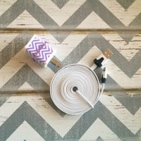 New Super Cute Jeweled Purple & White Chevron Designed Dual USB Wall Connector  + 10ft Flat White IPhone 5/5s/5c/6/6s/6 Plus Cable Cord