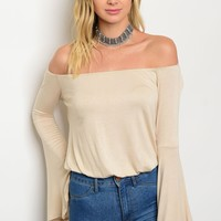 Off Shoulder Bell Sleeve Top