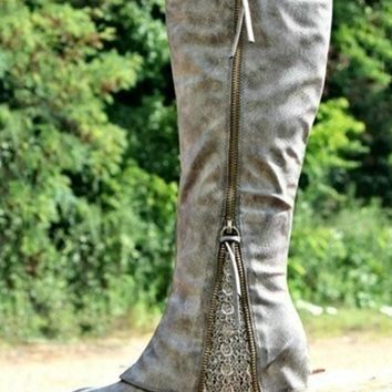 New Grey Round Toe Zipper Sequin Fashion Knee-High Boots