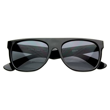 Hipster Super Flat Top Retro Horned Rim Sunglasses 8066