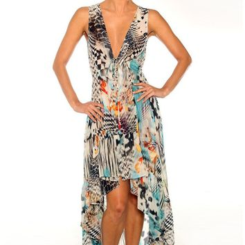 Parides Harlequin Hi-Low Maxi Dress | Designer Resort Wear