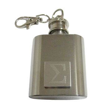 Silver Toned Etched Mathematical Greek Sigma Symbol 1 Oz. Stainless Steel Key Chain Flask