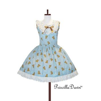 CUSTOM in Your Size Teddy Bears Ruffle Dress by priscilladawn