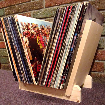 "New LP RECORDS STAND. Holds at least 50 Single 12"" Vinyl Albums! Hand-Built by Me w/ New Wood! Display, Flip, Browse, Organize. Storage Rack"