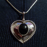 Authentic Navajo,Native American,Southwestern Sterling silver black onyx heart pendant/necklace.