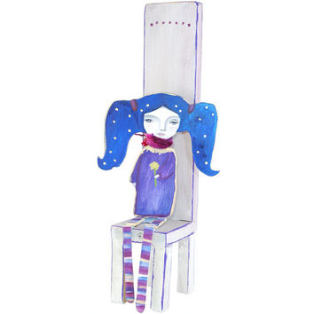 Little blue hair girl sitting on chair - gifts with character - reclaimed wood art - funky art - lilac and blue