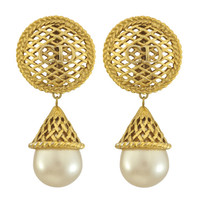 Vintage Christian Dior Weave Pearl Drop Earrings | SOPHIESCLOSET.COM | Designer Jewelry & Accessories