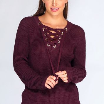 Addison Lace Up Sweater - Plum