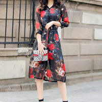 Floral Print Tea-Length Chiffon Cover Up