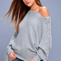 Sweeter Than Candy Heather Grey Lace-Up Sweater