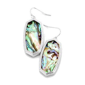 Abalone Bezel Set Oblong Earrings