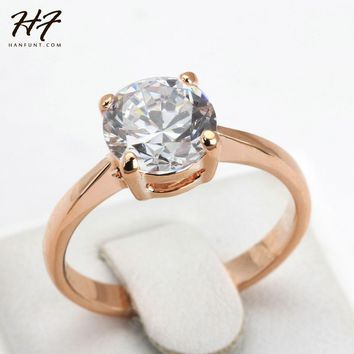 Rose Gold Color Four Claw Solitaire CZ Crystal 0.8CM Forever Wedding Ring Jewelry  For Women anel joias R333 R335
