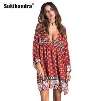 Sukibandra Summer Long Sleeve Vintage Women Print Beach Short Dress Deep V Neck Boho Chic Bohemian Dresses Ethnic Hippie Dress