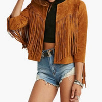 Half Sleeve Fringed Jacket
