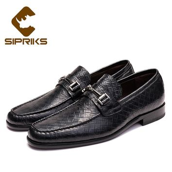 Sipriks Mens Slipon Leather Shoes Leather Sole Classic Loafers Boss Business Office Dress Shoes Italian Handmade Goodyear Shoes