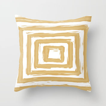 Minimal Gold Square Brush Stroke Pattern Throw Pillow by AEJ Design