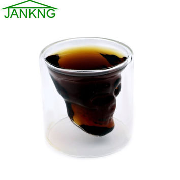JANKNG 1Pcs 75mL Crystal Skull Double Wall Glass Head Shot Glass Cup For Whiskey Wine Vodka Home Drinking Ware Man Gift Cup
