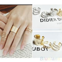 3Pcs/Set Fashion Top Of Finger Over The Midi Tip Finger Above The Knuckle Open Ring 04NH