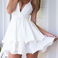 White Deep V-Neckline High Waisted Mini Dress