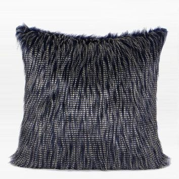 "Blue and White Two Tone Faux Fur Pillow 22""X22"""
