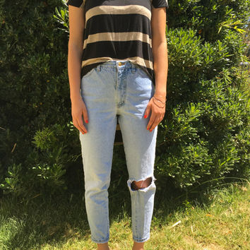 Vintage, High-Waisted, Light Wash, Distressed Jeans by The London Jean Company