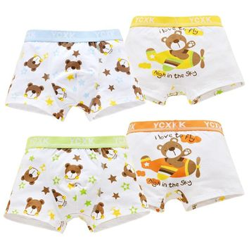 4 Piece/lot  Kids Boys Underwear Cartoon Children's Shorts Panties for Baby Boy Boxers Stripes Teenager Underpants 1-14T