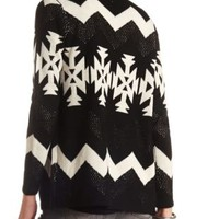 Mixed Stitch Open Aztec Cardigan by Charlotte Russe