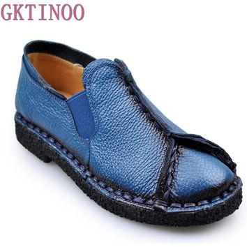 woman flats 2018 Spring and autumn handmade women's shoes national genuine leather shoes casual shoes soft cowhide female flats