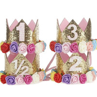 First, Second, Half Birthday Baby Crowns Rose Rainbow and Gold