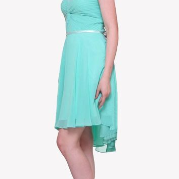 Short Twisted Bodice Chiffon Mint Bridesmaid Dress Strapless