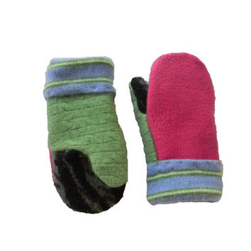 Girls Mittens, Sweater Mittens for Kids Wool Angora Cashmere Todder Fits Ages 3-5 Girls Sweaty Mitts Pink Green Blue Black Child