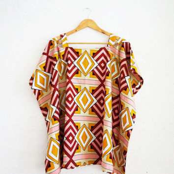 African Clothing Kaftan Top: Original Dutch Wax, cotton, African waxprint style, handmade, One Size Fits All