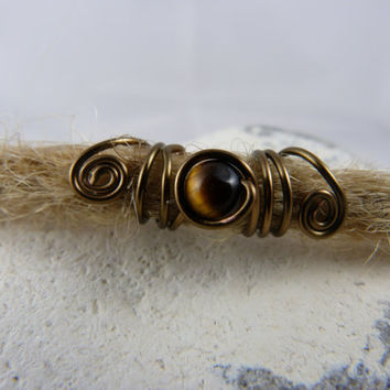 "Dread jewelry ""Tiger eye"", Dreadperle, Dreadbead, Rasta bead, Dreadlock jewelry"