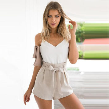 Causal V-Neck High Waist Romper  12341