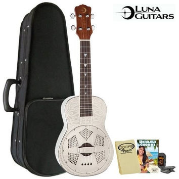Luna Guitars JB-UKE-TIKI-RES-KIT-1 Tiki Concert Resonator Ukulele Kit Instruction Booklet, Cloth and Tuner