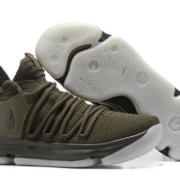 2017 Nike Mens Kevin Durant Kd 10 Army Green Basketball Shoes