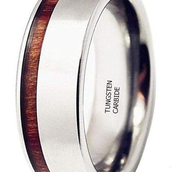 CERTIFIED 8MM Side Slotted Red Wood Inlaid Steel Color Tungsten Carbide Ring
