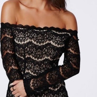 Black Lace Off-Shoulder Mini Dress