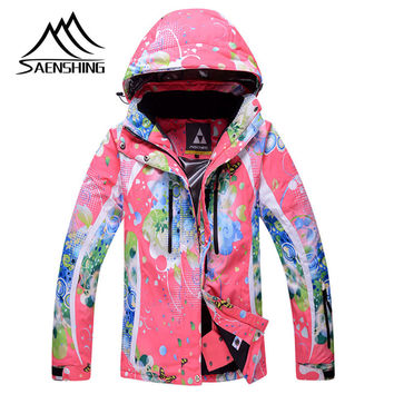 2016 Women Snowboard Jacket Outdoor Waterproof Windproof Ski Jackets Women Thermal Winter Skiing Jacket Hooded Coats
