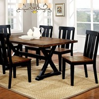 Alana Transitional Plank Style Dining Table, Antiqued Oak & Black Finish
