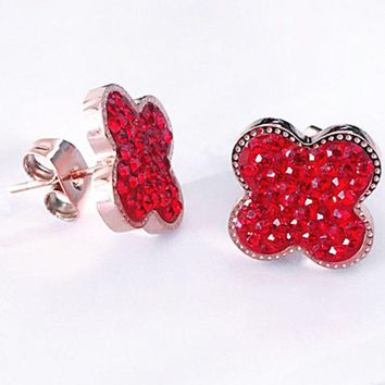 ac NOVQ2A Four-leaf clover£¬ fashionable red filled with round earring, four-leaf clover studs