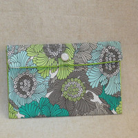 Pretty Aqua, Lime Green and Gray Floral Fabric Pouch