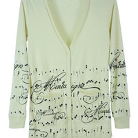 ROMWE | Single-breasted Musical Note Print Cream-yellow Coat, The Latest Street Fashion
