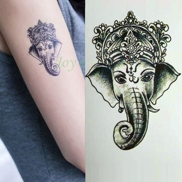 2pcs Waterproof Temporary Tattoo Sticker Ganesha Elephant Water Transfer Fake Tattoos
